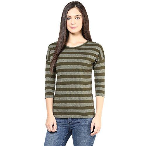 Hypernation-Military-Green-Color-T-Shirt-for-Women