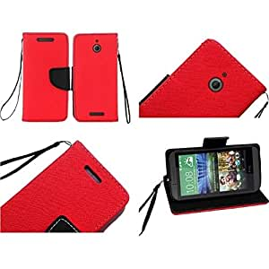 HR Wireless HTC Desire 510 Premium PU Leather Flip Wallet Credit Card Cover - Retail Packaging - Red