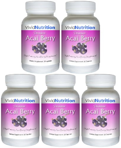 Christmas PREMIUM ACAI (5 Bottles) - High Potency, Pure Acai Berry Supplement. The All-Natural Diet, Weight Loss, Colon Cleanse, Detox, Antioxidant Superfood Product. Deals