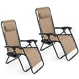 GHP Set of 2 Outdoor Beach Patio 300LBS Capacity Tan Zero Gravity Lounge Recliner Chairs