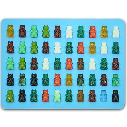 Bigear 2 Pack Silicone Mini Gummy Bear Molds for Chocolate & Candy Making,Non-stick Silicone Ice Cube Tray with a 5ml Pipette,Makes 50 Mini Gummy Candy Bears or Healthy Sugar