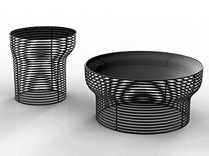 BONALDO tavolino Orion nero piano in cristallo acciaio da caffè salotto D6 75