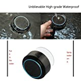 D-CLICK ® Mini Ultra Portable Waterproof Bluetooth Wireless Stereo Speakers with Suction Cup for Showers Bathroom Pool Boat Car Beach Outdoor etc. | For All Devices with Bluetooth Capability + Siri Compatible - 6 Hours Playtime / with Built-in Mic for use as a Powerful Handsfree Speakerphone (Black & Blue)
