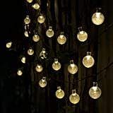 VoilioTM Solar String Lights 30 Led [8-Function Control] 21.3 Feet(6.5m)Crystal Ball Decorative Lights-Warm White