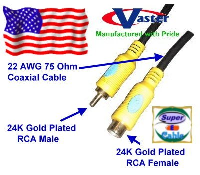 Digital Video Coaxial Cable, 24K S/Pdif Subwoofer Speaker Coaxial Audio Extension Cable, 15 Ft