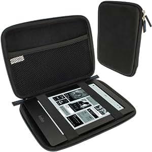 igadgitz Etui Housse Pochette Case rigide de voyage en EVA et de couleur Noir pour Kobo Aura HD eReader, Sony Portable Digiital eReader PRS-600 & Nouveau PRS-650 Touch Edition