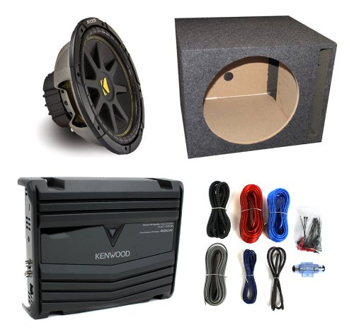 "Kicker C104 10"" 300W Car Subwoofer + Vented Sub Box + Kenwood 400W Amp + Amp Kit"