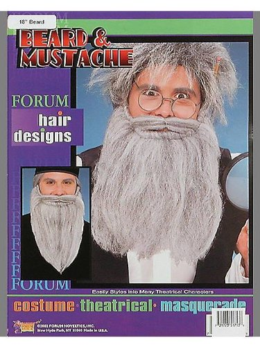 14in Beard/Moustache - Grey - Accessory
