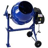 コンクリートミキサー 青 練上量60L ドラム容量120L 電動 モーター式 100Vモーター 混練機 攪拌機 かくはん機 コンクリート モルタル 堆肥 肥料 飼料 園芸 タイヤ 車輪 キャスター ミキサー 攪拌 かくはん 混錬 混ぜる 練る ブルー BLUE
