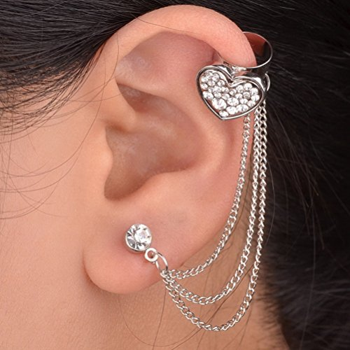 1PC Heart Silver Plated Left Ear Chain Stud Wrap Clip Cuff Earring Silver S683K02
