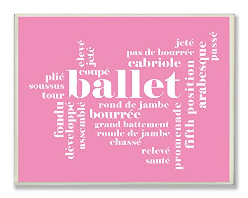The Kids Room by Stupell Ballet Typography on Pink Background Rectangle Wall Plaque