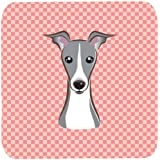 "Caroline's Treasures BB1236FC Checkerboard Pink Italian Greyhound Foam Coaster (Set Of 4), 3.5"" H X 3.5"" W, Multicolor"