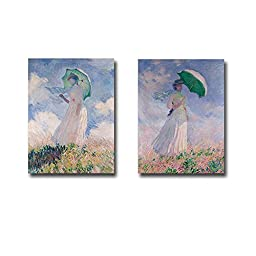 Views of Woman with Parasol by Claude Monet 2-pc Premium Gallery-Wrapped Canvas Giclee Art Set (Ready-to-Hang)