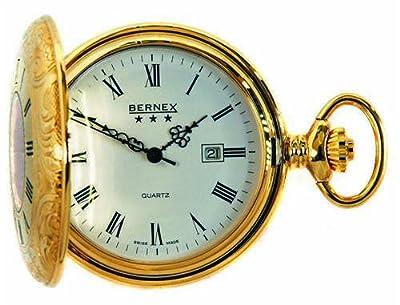 Bernex Pocket Watch GB21105 Gold Plated Half Hunter