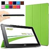 Infiland Acer Iconia Tab 10 (A3-A30) Hülle Case-Ultra Dünn Tri-Fold Smart-Muschel PU Leder Ultra Schlank Superleicht Ständer Smart Shell Cover Schutzhülle Etui Tasche für Acer Iconia Tab 10 (A3-A30) 25,7 cm (10,1 Zoll)(Grün)