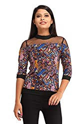 Snoby Blue Digital Print Crepe Top(SBY1178)