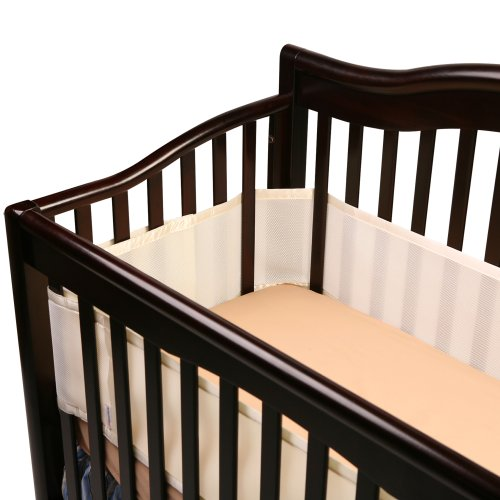 Breathablebaby Breathable Safer Bumper, Fits All Cribs, Ecru back-929544