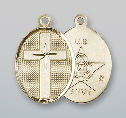 14kt Gold Cross / Army Medal 14kt gold o l of guadalupe medal