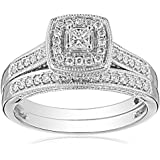 IGI-Certified 14k White Gold Princess-Cut Diamond Bridal Ring Set (0.5 cttw, H-I Color, I1-I2 Clarity)