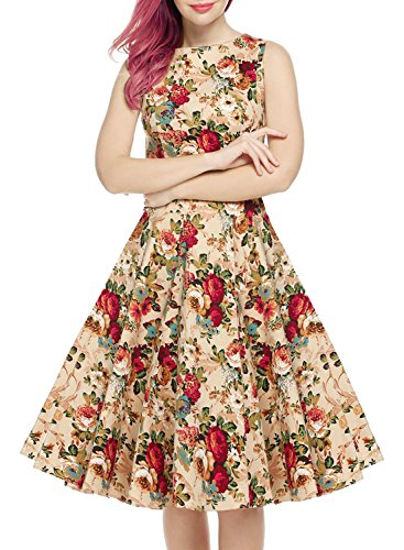 OWIN Women's Vintage 1950's Floral Spring Garden Picnic Dress Party Cocktail Dress 1