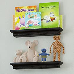 Set of 2 Children s Small Wall Shelf Wood 15.75 Inch Multi-use Bookcase Toy Game Display Organizer Black