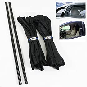 VIP Style Interior Window Black Mesh Curtain Slidable UV Shield Visor 70cm X2