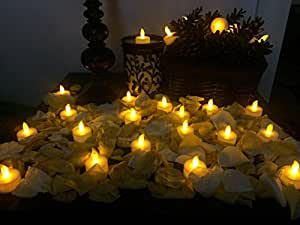 Flameless Candles - Battery Operated LED Candle Tealights - Flickering - Electric Tea Lights for Votive or Spiral Holders - Unscented - 24 Pieces - Home, Church and Wedding Decoration - FREE GIFT - Lifetime Guarantee