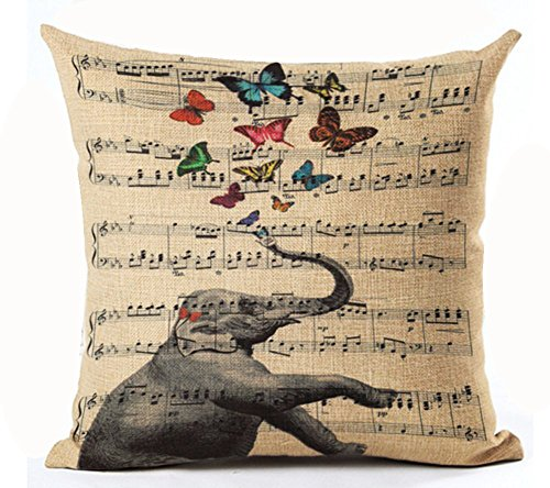 Retro Shabby Sheet Music Funny elephant colorful butterfly Cotton Linen Personalized Throw Pillow Case Cushion Cover New Home Office Sofa Car Decorative Square 18 X 18 Inches