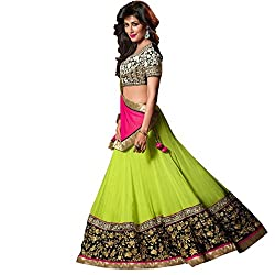 Fstore Pink embroidered georgette lehenga