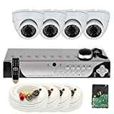 GW Security VD4CH4C726WH4 4-Channel DVR Surveillance Camera System with x 700TVL Outdoor/Indoor Dome Security Cameras and 500GB Hard Drive