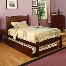 Cara Twin Size Cherry Finish Bed Frame w/ Trundle