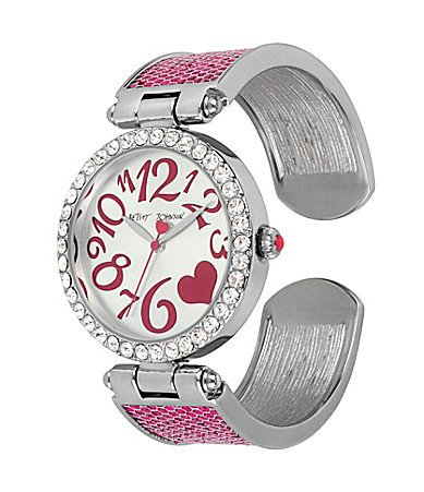 Betsey Johnson Fuchsia Glitter Cuff Bracelet Watch BJ00163-01