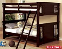 Hot Sale New Mission Dark Walnut Finish Wood Full Over Full Bunk Bed