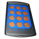 Muffin Pan Silicone and Cupcake Maker 12 Cup Quality Muffin Bake Pan (Blue)