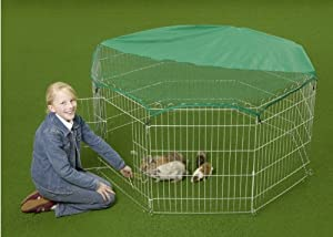 Silver Large RABBIT DUCK GUINEA DOG PLAYPEN PEN ENCLOSURE RUN + NET chicken run playpen net playpen play pen pet enclosure large playpen by DogCages4u.com