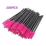 G2PLUS 100 Pack Disposable Eyelash Mascara Brushes Wands Applicator Makeup Brush Kits Pink
