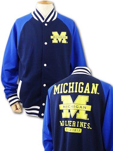 (エヌシーエーエー)NCAA アメリカ ミシガン大学 Wolverines ジャケット (L, 紺青黄色)