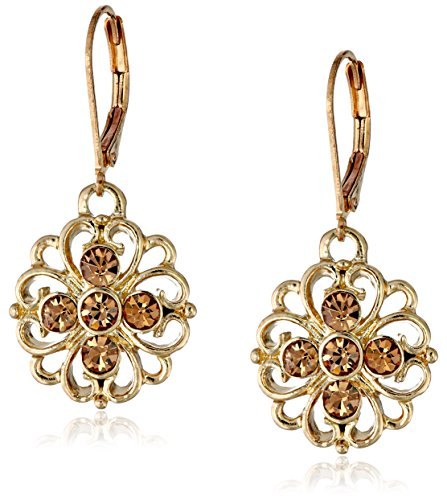 1928 Jewelry Classic Gold-Tone Light Brown Topaz Color Filigree Flower Drop Earrings
