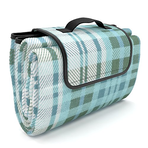 Picnic Blanket 100% Waterproof EXTRA LARGE Picnic Fleece with Drawstring Storage Bag / Shoulder Bag | Waterproof Beach Blanket | Use with Picnic Basket and Picnic Backpack | Gift for Mom