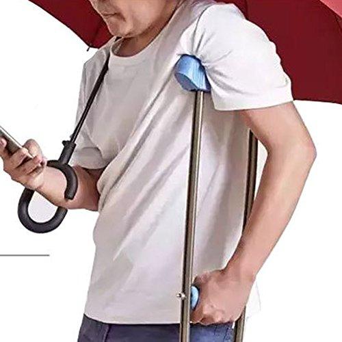 Rückseite Falten Regenschirm Double Qualitäts Double Layer Inverted Regenschirm stabil winddicht UV-Schutz faltbar Dach selbst für Auto Regen Schutz C-Form Griff Verwendung Reisen und Auto (Blau) -