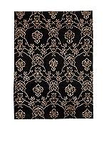 CarpeTrade Alfombra Soft Silk Nepal (Negro/Beige)