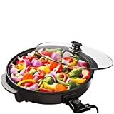 Shef Large 42cm Diameter 1500W Round Multi Cooker with Glass Lid Non-Stick Surface & Cool Touch Handles