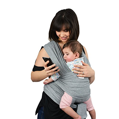 Premium-Baby-Wrap-Carrier-Original-Natural-Cotton-Baby-Slings-Multiple-Positions-Soft-and-Lightweight-Sling-for-Newborn-Infants-from-Birth-Grey