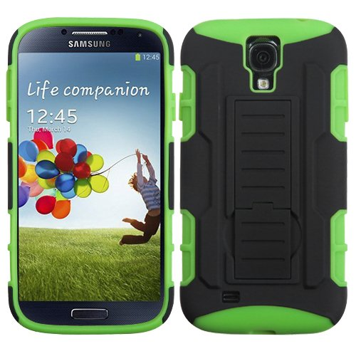 Fits Samsung I337 I9500 Galaxy S 4 Hard Plastic Snap On Cover Black/Electric Green Car Armor Stand (Rubberized) At&T