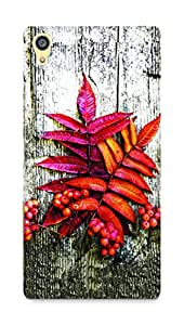 Amez designer printed 3d premium high quality back case cover for Sony Xperia Z5 Premium (Autumn leaves over wooden)
