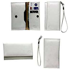 J A5 G8 Leather Wallet Universal Pouch Cover Case For Amoi N700 White