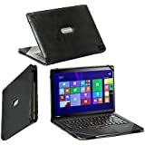 """Navitech Black Real Leather Folio Case Cover Sleeve For The Lenovo ThinkPad X1 Carbon 14"""""""