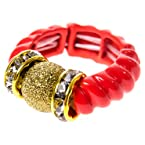 Coral and Gold Stretch Ring