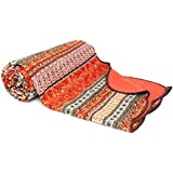 1001 Wohntraum 10265 Red Quilt Y1, Orient Barock, 150 x 200 cm, Vintage Plaid Tagesdecke, Patchwork