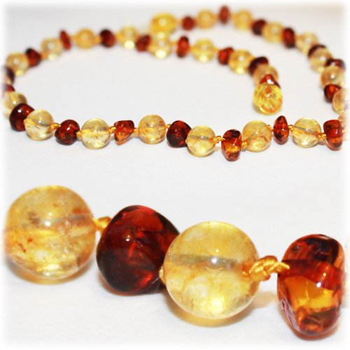 The Art of Cure Baltic Amber Teething Necklace for Baby (Honey/Citrine) - Anti-inflammatory ...